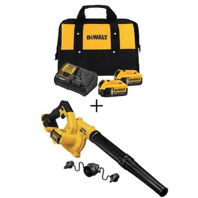 20-Volt MAX Cordless Compact Jobsite Blower 135 MPH 100 CFM with (2) 20-Volt 5.0Ah Batteries & Charger