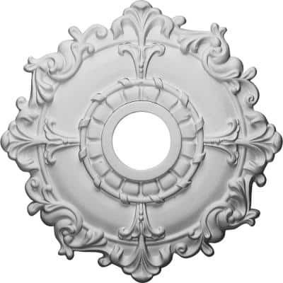 """18"""" x 3-1/2"""" ID x 1-1/2"""" Riley Urethane Ceiling Medallion (Fits Canopies upto 4-5/8""""), Primed White"""