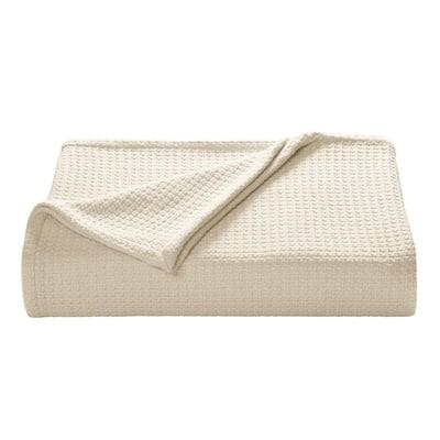 Bahama Coast Ecru Woven-Cotton King Blanket