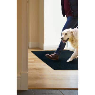 Peel and Stick Modular Mat Wide Wale Rib Charcoal 18 in. x 18 in. Indoor/Outdoor Carpet (10 Tiles/Case)