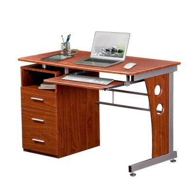 48 in. Rectangular Mahogany/Silver 3 Drawer Computer Desk with Keyboard Tray