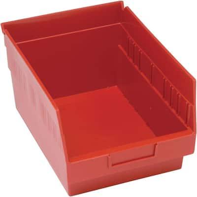 Store-More 6 in. Shelf 10 Qt. Storage Tote in Red (20-Pack)