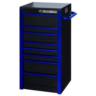 19 in. 7-Drawer Side Tool Chest in Black with Blue Trim