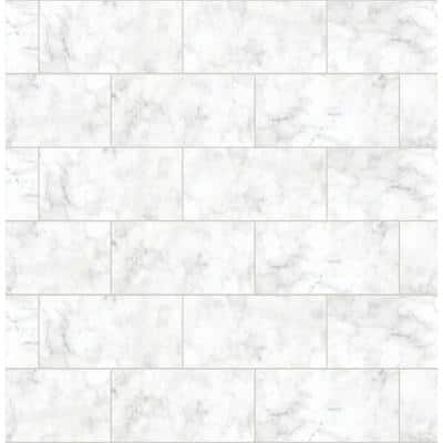 Metro Carrara White Peel and Stick Wallpaper