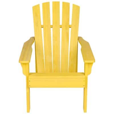 36 in. Tall Vineyard Patio Yellow Wooden Adirondack Chair