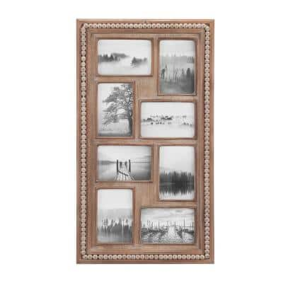 """4"""" x 6"""" Natural Beaded Wood 8-Opening Picture Frame"""