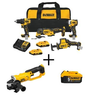ATOMIC 20-Volt MAX Cordless Brushless Combo Kit (4-Tool), 4-1/2 in. Grinder & (1) 5.0Ah Battery