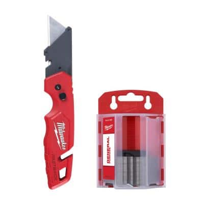 FASTBACK Folding Utility Knife with Blade Storage and 50-Pack General Purpose Utility Blade Set