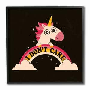 12 in. x 12 in. ''Pink and Yellow Unicorn with Rainbow Doesnt Care'' by Jon Bertelli Framed Wall Art