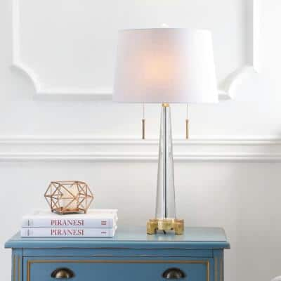 Zoe 29.5 in. 2-Light Clear/Brass Gold Crystal Table Lamp