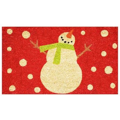 Holiday Snowman 17 in. x 29 in. Coir Door Mat