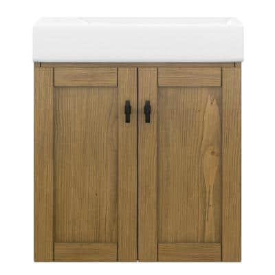 Highmount 20 in. W x 10 in. D Vanity in Weathered Pine with Vanity Top in White with White Basin