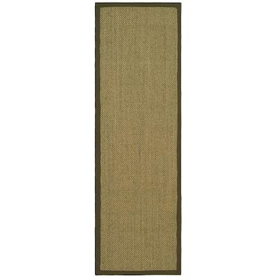 Natural Fiber Beige/Green 3 ft. x 14 ft. Indoor Runner Rug