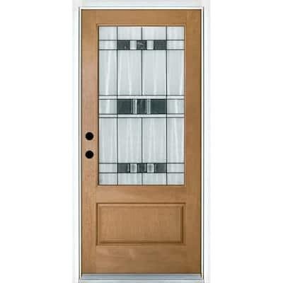 36 in. x 80 in. Savana Light Oak Right-Hand Inswing 3/4 Lite Decorative Fiberglass Prehung Front Door