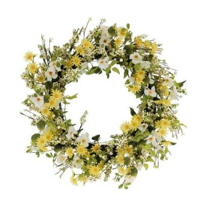 30 in. Artificial Dogwood and Daisy Floral Spring Wreath