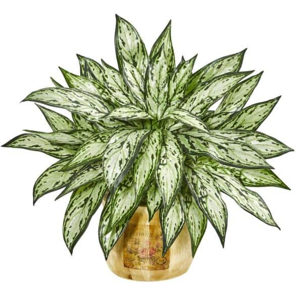 Nearly Natural Indoor 17 In Silver Queen Artificial Plant In Decorative Planter Set Of 2 8419 S2 The Home Depot