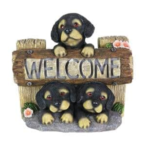 8.5 in. Tall Solar Three Dogs Welcome Sign Garden Statue