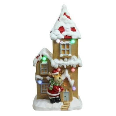 21.25 in. Christmas Morning Pre-Lit LED House with Reindeer Santa Musical Christmas Tabletop Decoration