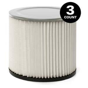 Standard Replacement Cartridge Filter for Most Shop-Vac Branded Wet/Dry Shop Vacuums (3-Pack)