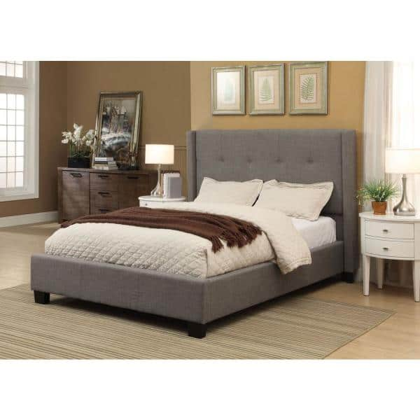 Modus Furniture Geneva Madeleine Gray With Tufted Wingback Headboard Dolphin Linen California King Platform Bed 3zh3l67 The Home Depot