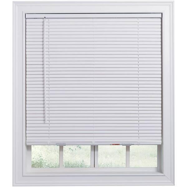 Hampton Bay White Cordless Room Darkening 1 In Vinyl Mini Blind For Window Or Door 36 In W X 48 In L 10793478184279 The Home Depot