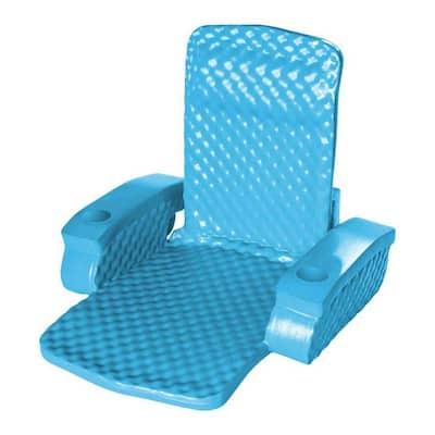Folding Baja Float Swimming Pool Water Lounger Chair, Bahama Blue