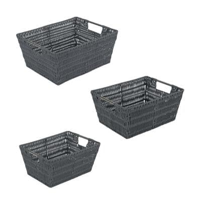 SM- 8.3 in. x 11.5 in. x 5.5 in., MD- 9.8 in. x 13 in. x 6 in., 3 Pack Set Rattan Tote Baskets in Charcoal