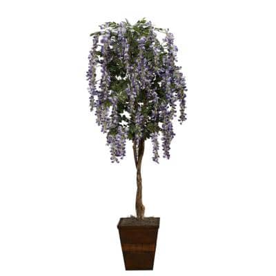 7 ft. Indoor Lavender Wisteria Tree in Square Wood Planter