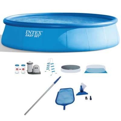 18 ft. Round 48 in. D Inflatable Pool Set with Cleaning Maintenance Swimming Pool Kit