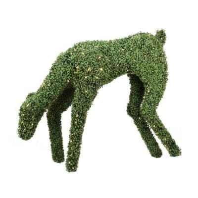 42 in. Christmas Pre-Lit Boxwood Feeding Reindeer Outdoor Decoration with Warm White LED Lights