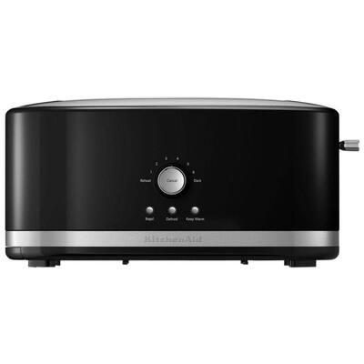 4-Slice Onyx Black Long Slot Toaster with Crumb Tray