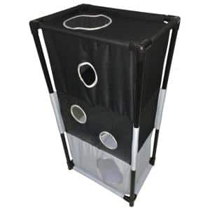 Black and White Kitty-Square Obstacle Soft Folding Sturdy Play-Active Travel Collapsible Travel Pet Cat House Furniture