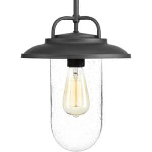 Beaufort Collection 1-Light Textured Black Clear Seeded Glass Farmhouse Outdoor Hanging Lantern Light