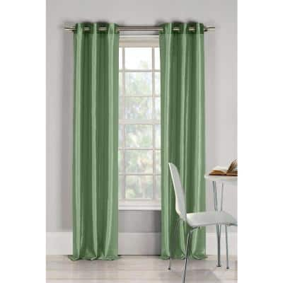 Sage Faux Silk Grommet Room Darkening Curtain - 38 in. W x 84 in. L (Set of 2)