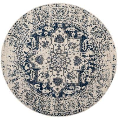 Madison Cream/Navy 6 ft. 7 in. x 6 ft. 7 in. Round Area Rug