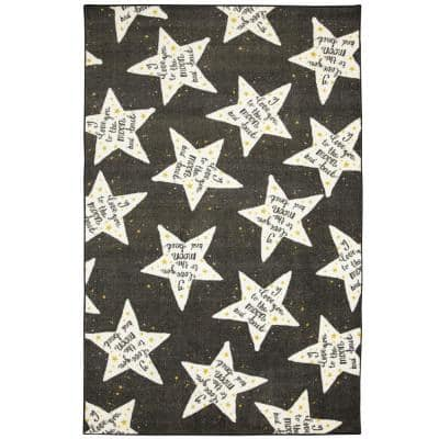 To The Moon Black/White 3 ft. 4 in. x 5 ft. Area Rug