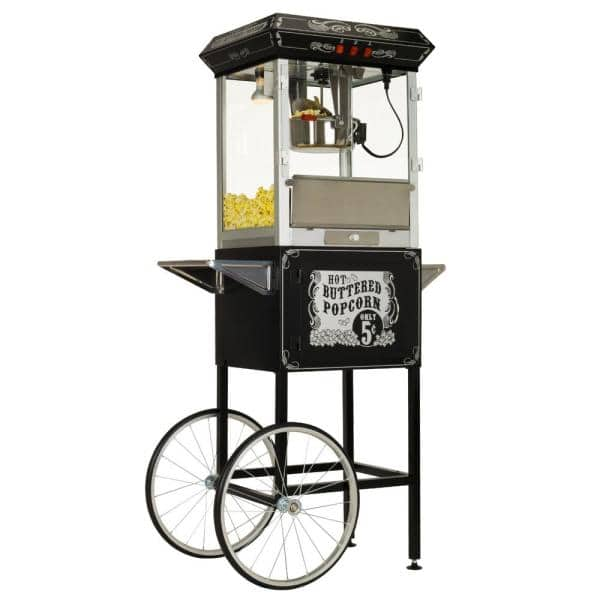 Funtime Carnival Style 8 Oz Black And Silver Popcorn Machine With Cart Ft860cb The Home Depot