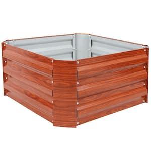 24 in. Square Woodgrain Galvanized Steel Raised Bed