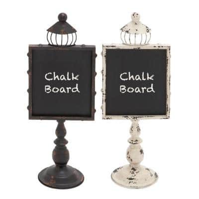 21 in. Rustic Wooden Chalkboards with White and Black Iron Stands (2-Pack)