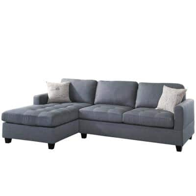 2-Piece Gray Linen L-Shape Sofa Sectional with Reversible Chase and 2-Accent Pillows