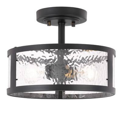 Savannah 11.8 in. x 11.8 in. x 9 in. 2-Light Black Finish Water Grain Glass Semi-Flush Mount