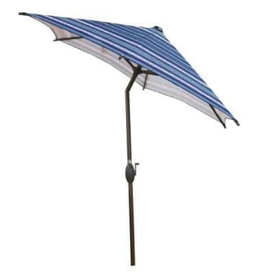 7-1/2 ft. Round Outdoor Market with Push Button Tilt and Crank Lift Patio Umbrella in Blue Striped