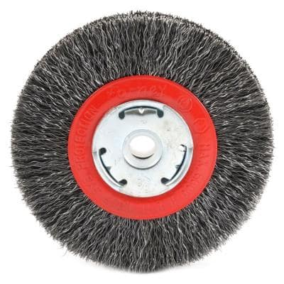 5 in. x 1/2 in. and 5/8 in. Arbor Narrow Face Coarse Crimped Wire Bench Wheel Brush