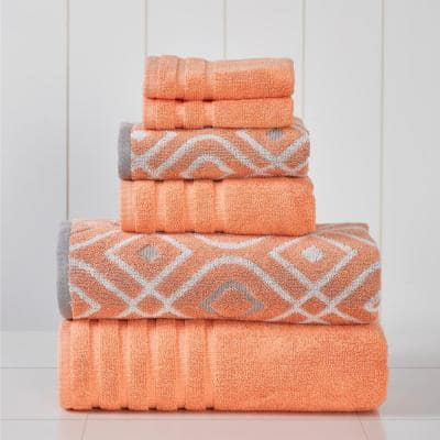 Oxford Coral 6-Piece Yarn Dyed Towel Set