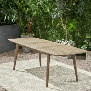 Stamford Outdoor Acacia Wood Expandable Dining Table, Gray