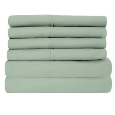 6-Piece Sage Super-Soft 1600 Series Double-Brushed California King Microfiber Bed Sheets Set