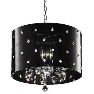 10 in. 3-Light Chrome Star Ceiling Crystal Chandelier