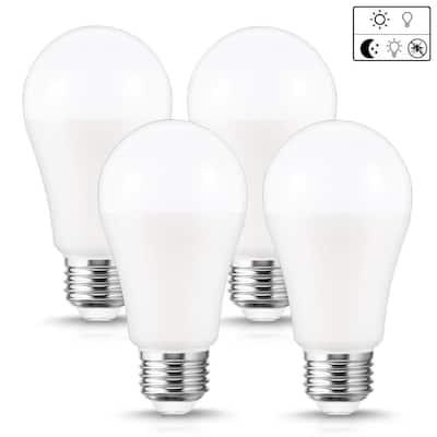 12-Watt, 100-Watt Equivalent A19 Dusk to Dawn LED Bug Light Bulb E26 Base in Yellow-Colored 2000K (4-Pack)