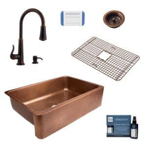 Lange All-in-One Farmhouse Copper Sink 32 in. Single Bowl Kitchen Sink with Pfister Faucet and Strainer