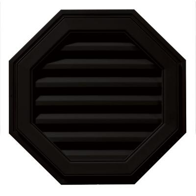 22 in. x 22 in. Octagon Black Plastic Built-in Screen Gable Louver Vent